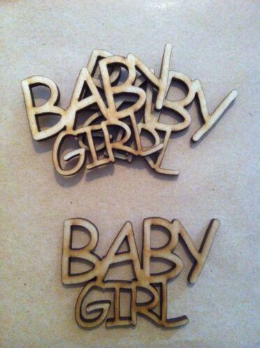 crafts embellishment cardmaking x5 wooden BABY GIRL//BOY words
