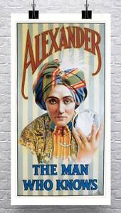 Alexander-The-Mentalist-Vintage-Poster-Rolled-Canvas-Giclee-Print-17x30-Inches