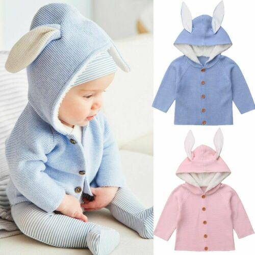 Baby Girl Newborn Winter Clothes Knitted Sweater Cute Easter Ear Hooded Cardigan