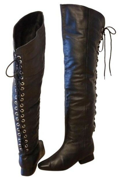 OTK OVER THE KNEE WOMAN LACE UP GO GO BOOTS VINTAGE LEATHER TWO LIPS SIZE 6