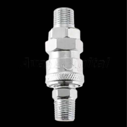 "1//4"" BSP Air Line Hose Compressor Fit Connector Coupler Adapter Steel Set Silver"