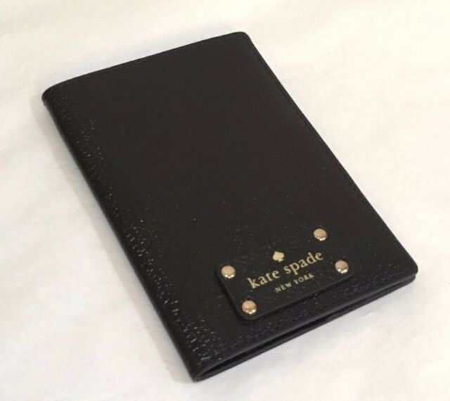 Kate Spade Leather Wellesley Passport Ticket Holder Wallet Black New NWT