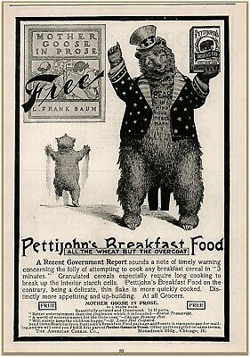 Advertising-print Obedient 1900 C Pettijohn's Breakfast Cereal Papa Baby Bear Mother Goose Prose Free Ad