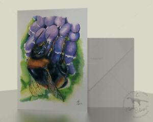Bumble-Bee-greeting-card-7x5-Purple-Grape-Hyacinth-of-watercolour-pencil