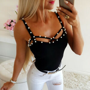 Summer-Sleeveless-Women-Camisole-Plain-Strappy-Vest-Tops-Pearl-Slim-Blouse-Tank
