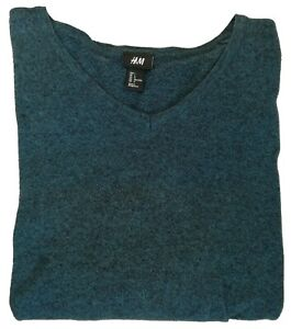 H-amp-M-T-Shirt-Nice-Men-039-s-Navy-Blue-Tee-Size-L-Long-Sleeves-V-Neck-100-Cotton