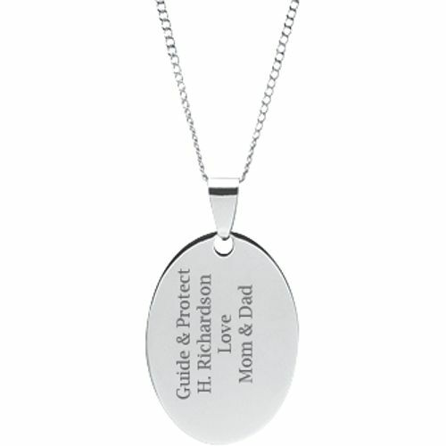 """Michael Oval Pendant on 18/"""" Chain Stainless Steel Personalized Engraved St"""