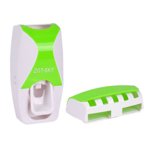 CW/_Bathroom Lazy Wall Mount Toothbrush Holder Automatic Toothpaste Dispenser Set