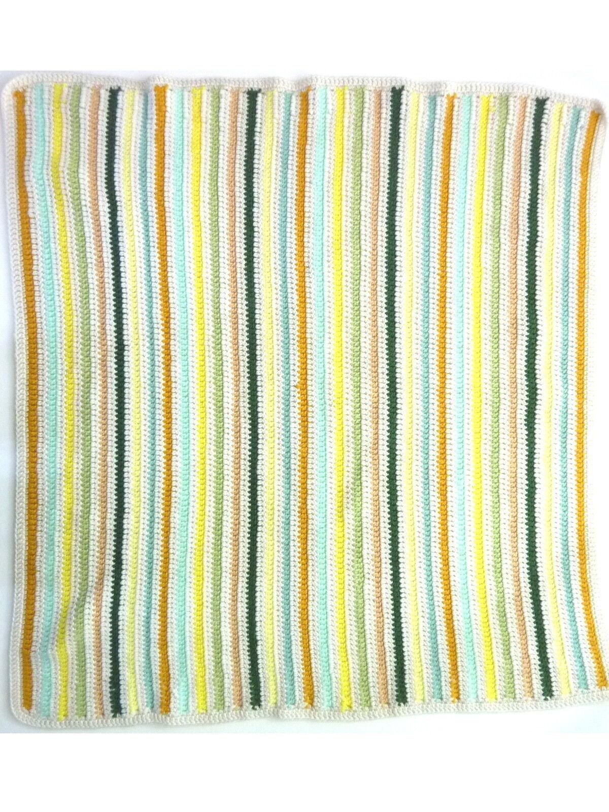 Granny Knit Crochet Small Baby Stoller Blanket 35  x 32  Beige bluee Green Stripe
