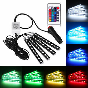 RGB-Car-Interior-Floor-Atmosphere-Light-Strip-4x-9LED-Remote-Control-Colorful