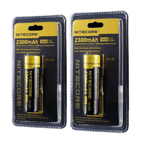 2x Nitecore NL183 3.7V 8.5Wh 2300mAh Protected  rechargeable 18650 Batteries