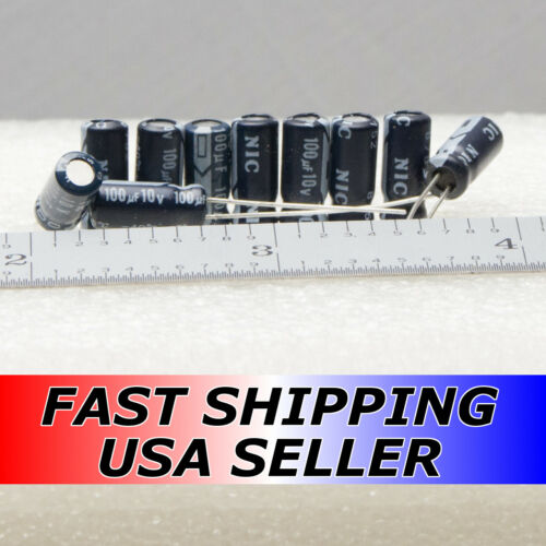 Lot of 10-100uF 10V NIC GP Japan Low-ESR Radial Capacitors Fast USA Shipping