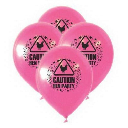 Hot Pink Caution Hen Party Balloons Pack of Ten 10