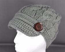 Grey Gray cable knit button ski brim hat crochet cap beanie winter