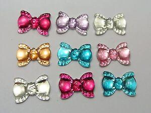 50-Mixed-Color-Flatback-Bowknot-Bows-Rhinestone-Gems-19X13mm-Embellishments