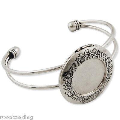 5PCS Antique Silver With 32MM Photo Locket Adjustable Cuff Bracelet Blank C1808