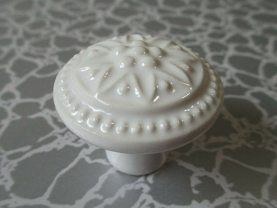 Dresser Knob Drawer Knobs Kitchen Cabinet Door Handle Ceramic White Porcelain