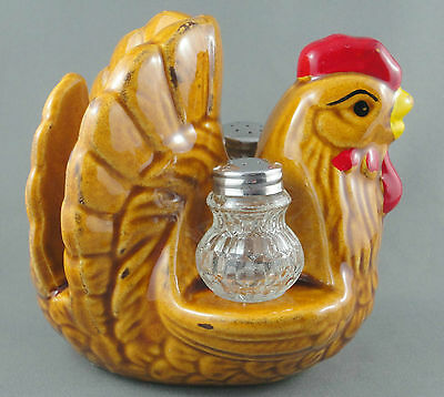 Hen Chicken Napkin Stand Glass Salt and Pepper Set 1950s to 70s HON Giftco Japan