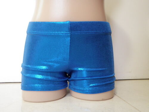 NEW BLUE SHINY FOIL BIKE SHORTS All Sz Gymnastics Dance Acrobatics Leotard