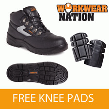 Worksite Ss601sm Black Leather Hiking Work Safety Boot Free Knee Pads