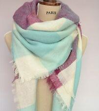 New Season Large Tartan Blanket Scarf Check Plaid Zara Style Wrap Blue Purple