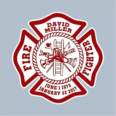 WHITE//RED XL Vinyl Decal Fire Department maltese Fighter sticker GoGoStickers