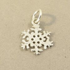 .925 Sterling Silver Hammered SNOWFLAKE CHARM Pendant NEW Snow Small 925 GA73