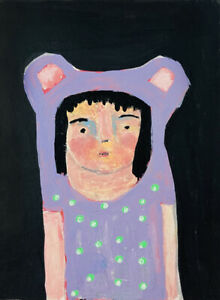 Purple Bear Girl Portrait Painting Green Polka Dots Katie Jeanne Wood