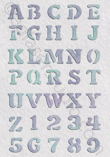 Alphabet  A-Z  Uppercase  Numbers  Stencil  Vintage Furniture Fabric Crafts AL12
