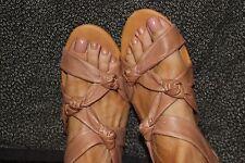 Strappy Knot Design Gladiator Leather Carmel Brown Flat Sandal Shoe Size 9.5