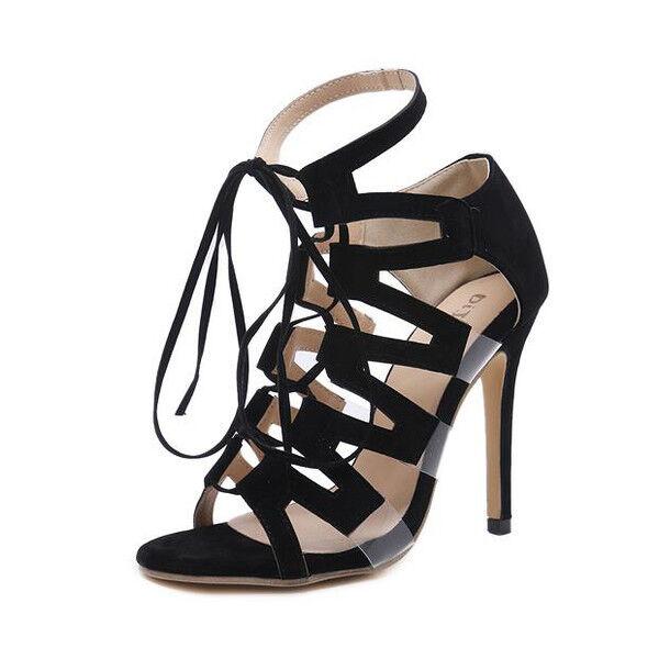 Sandali pelle stiletto eleganti tacco 12 cm nero lacci simil pelle Sandali eleganti 1156 e327f4