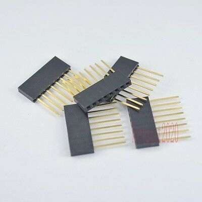 20pcs 2.54mm 1x8 pin Female 11mm Long Legs stackable Header for Arduino Shield