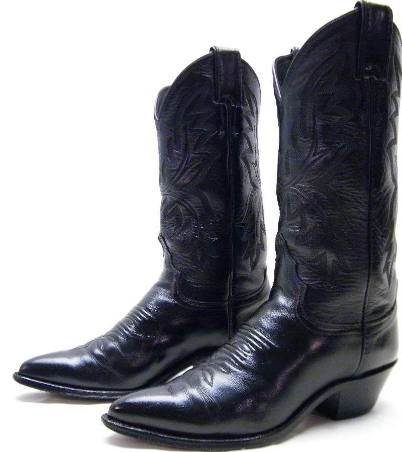 Bottes Justin 4904 en Cuir Noir Cowboy Western bottes Taille 5.5  1 2 B made in USA