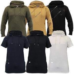 Herren-Ripped-Sweatshirt-Top-Soul-Star-Lange-Linie-Kapuzen-Pullover-T-Shirt-Winter