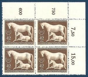 DR-Nazi-3rd-Reich-Rare-WW2-Stamp-1944-Hitler-039-s-Horse-Racing-Brown-Ribbon-Germany