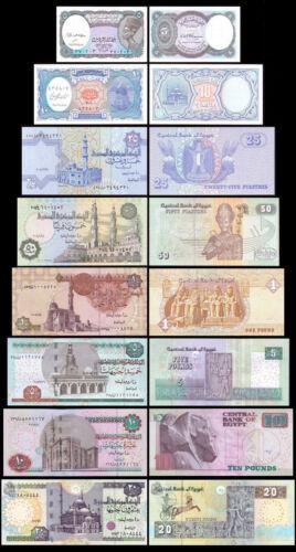 25 50 Piastres Set of 8Pcs Egypt 5+10 1+5+10+20 Pounds Uncirculated