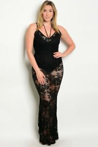 Details about Womens Plus Size Black Lace Overlay Maxi Dress 2XL Sheer  Stretch