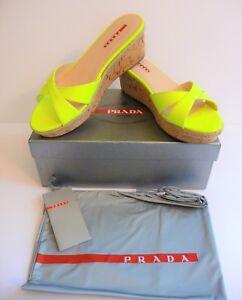 3b03e5935030 Prada NIB Giallo Neon Yellow Patent Cork Slides Sandals Size 9 39 B ...