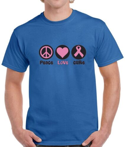 Peace Love Cure Breast Cancer Shirts Tops T-shirts for Men Men/'s Awareness