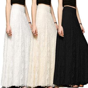 New-Women-Lace-Maxi-Long-Skirt-High-Waist-Hollow-Boho-Wedding-Party-Fashion