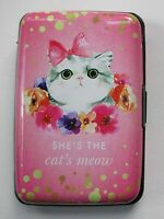 Q She's The Cats Meow Credit Card Holder Case Wallet Rfid Identity Theft Blocker