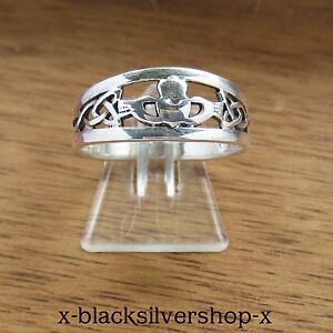 Keltischer Hochzeit Ring Damen Silber 925 Triskele Triskel Claddagh