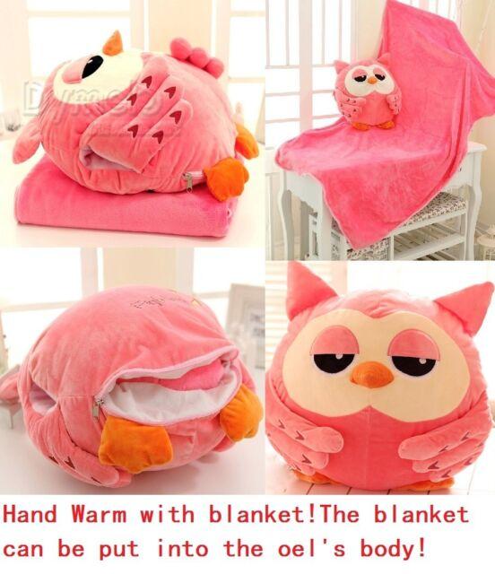 cartoon heirs owl plush toy cushion hand warmer blanket lover roumang gift 1pc