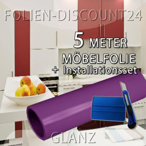 Installationsset Plotterfolie EUR 4,59//m² Möbelfolie 5 M x 61cm Lila Glanz