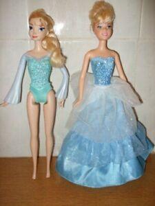 """2 X Poupées Disney Frozen Ice Power Elsa & Cendrillon Surprise 1 En 2-robe ~ 12""""-afficher Le Titre D'origine"""
