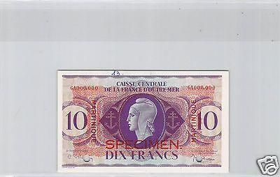 Martinique Probe 10 Franken Nd Dekret 2.2.1944 Pick 23 S Bright And Translucent In Appearance Karibik Münzen