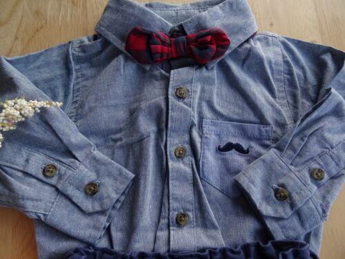 Baby Boy Woven Body Shirt Chinos 3 Pcs Set Navy Blue Bow Tie 100/%Cottn 3-6-12-18