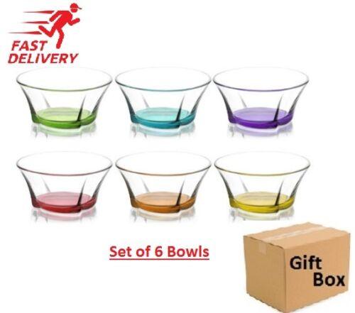6 X Set Artcraft multicolores Dessert//Starter bol verre coffret idéal pour cadeau