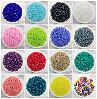 NEW 50PCS 6mm Glass Oblate Pearl Spacer Loose Beads Pattern Jewelry Making  06