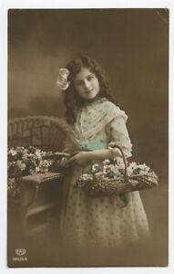c 1914 Child Children CUTE LITTLE GIRL British tinted photo postcard